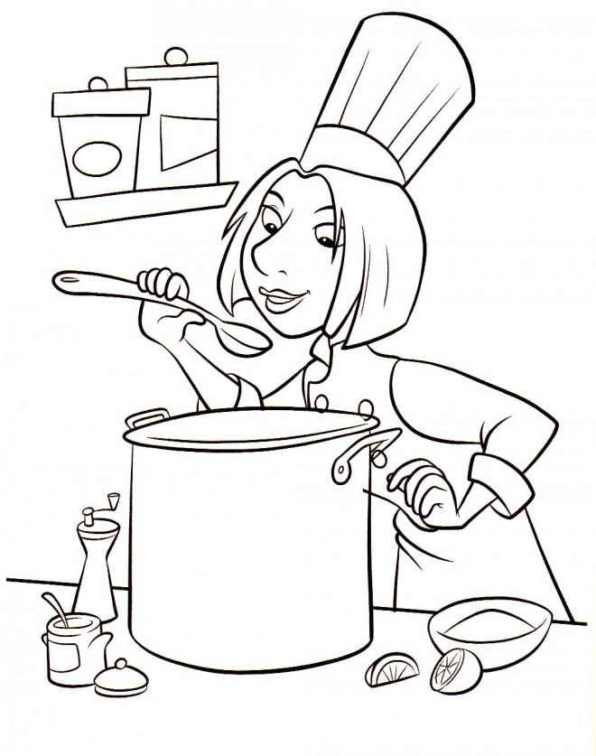 Coloriage et dessins gratuits Cuisinier à la cuisine à imprimer