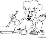 Coloriage Cuisinier prépare le repas