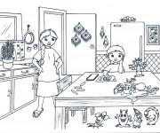 Coloriage Enfant et ses amis magiques à La Cuisine
