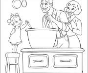 Coloriage La Famille à la Cuisine