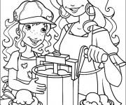 Coloriage La fille et sa maman à La Cuisine