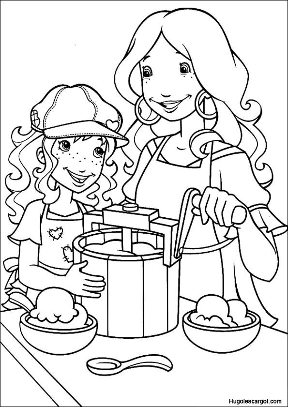 Coloriage et dessins gratuits La fille et sa maman à La Cuisine à imprimer