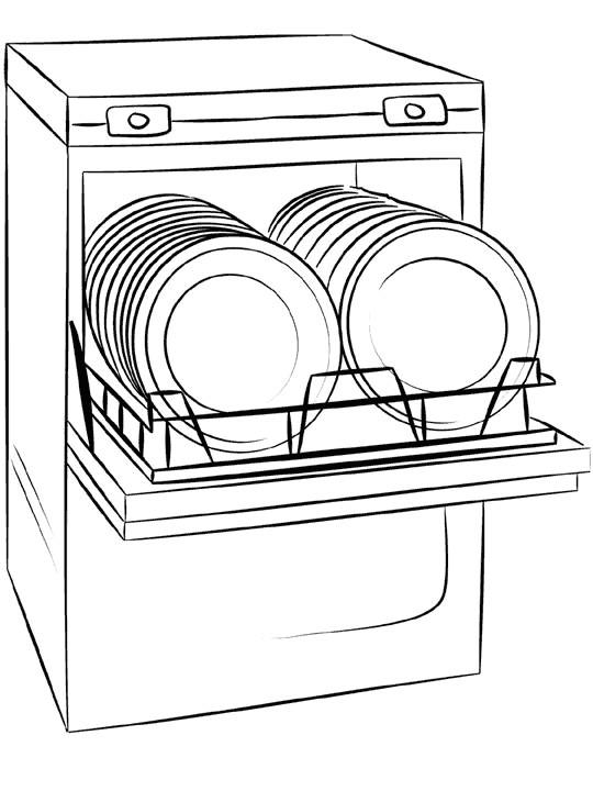 Coloriage et dessins gratuits Lave-vaisselle à La Cuisine à imprimer