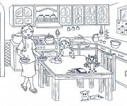 Coloriage Le fils aide sa Mère à La Cuisine