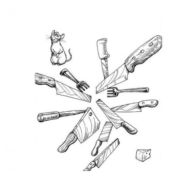 Coloriage et dessins gratuits Les couteaux de La Cuisine à imprimer