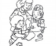 Coloriage Maman à la Cuisinie