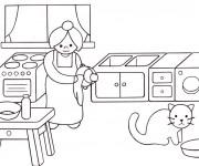 Coloriage Maman dans la cuisine
