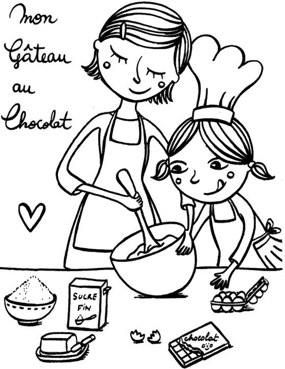 Coloriage et dessins gratuits Maman prépare un gâteau avec sa fille à imprimer