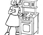 Coloriage Paysage La Mère à La Cuisine