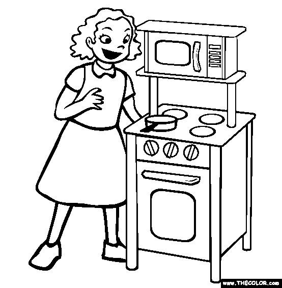 Coloriage et dessins gratuits Paysage La Mère à La Cuisine à imprimer