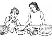 Coloriage Préparation de Tarte à La cuisine