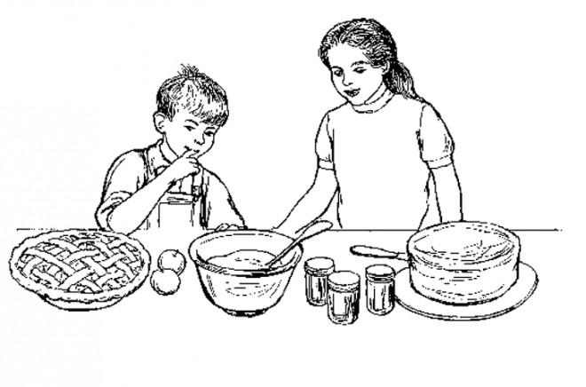 Coloriage et dessins gratuits Préparation de Tarte à La cuisine à imprimer