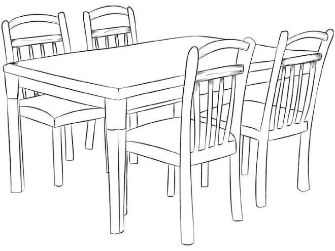 Coloriage et dessins gratuits Table de Cuisine à imprimer
