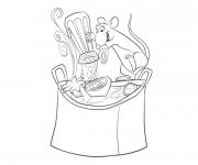 Coloriage une souris cuisinière