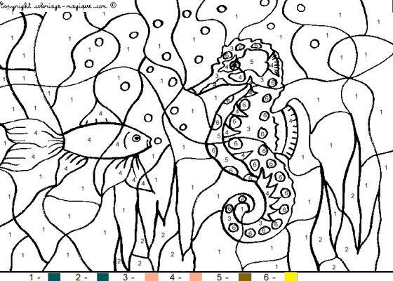 Coloriage et dessins gratuits Fond marin à Numéro à imprimer