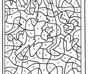 Coloriage et dessins gratuit Les Lapins numéroté à imprimer