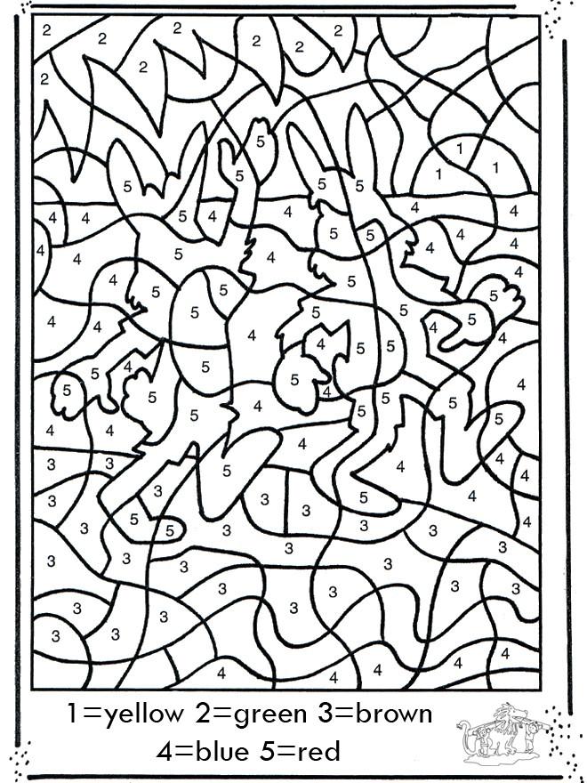 Coloriage et dessins gratuits Les Lapins numéroté à imprimer