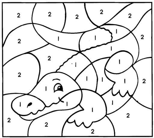 Coloriage Gratuit Crocodile.Coloriage Magique Crocodile Numerote