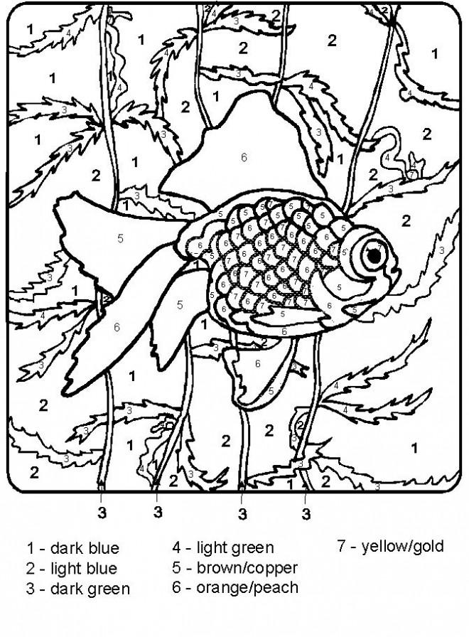 Coloriage et dessins gratuits Poisson numéroté maternelle à imprimer