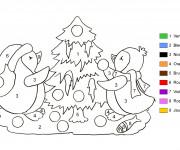 Coloriage Sapin de Noël en couleurs différents