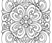 Coloriage et dessins gratuit Adulte Coeur Difficile vectoriel à imprimer