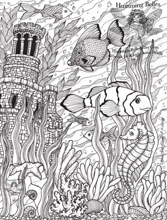 Coloriage et dessins gratuits Adulte fond marin à imprimer