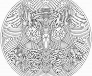 Coloriage et dessins gratuit Difficile Mandala Hibou à imprimer