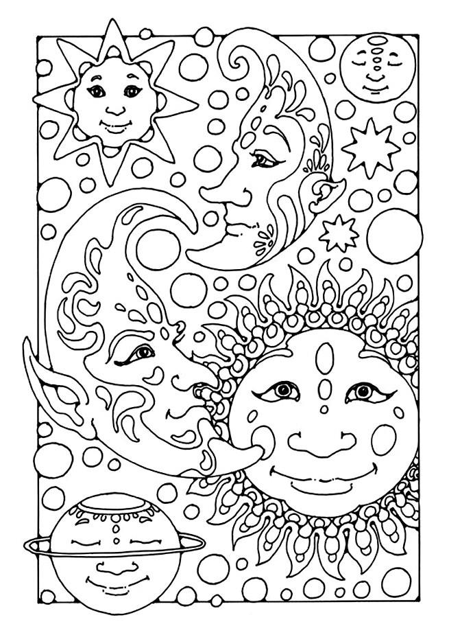 Coloriage et dessins gratuits Difficile Planètes et Étoiles à imprimer