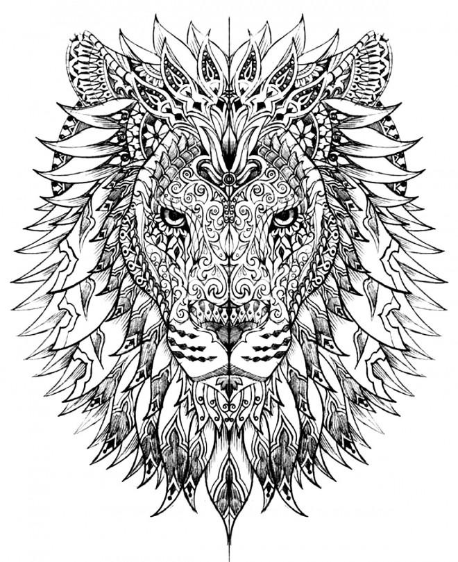 Coloriage Lion Difficile Dessin Gratuit A Imprimer