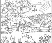 Coloriage et dessins gratuit Paysage de Campagne Difficile à imprimer