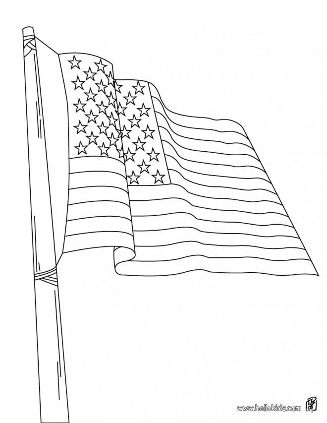 Coloriage et dessins gratuits Drapeau États Unis à imprimer