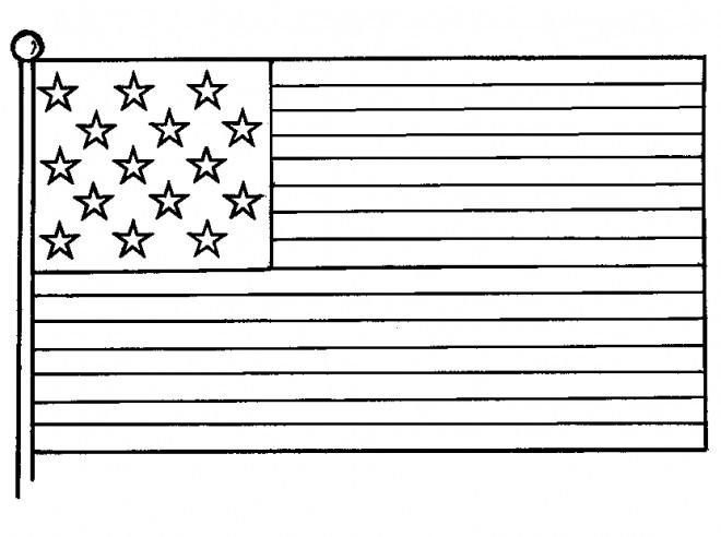Coloriage et dessins gratuits Drapeau États-Unis maternelle à imprimer