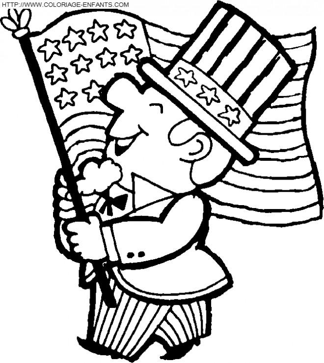 Coloriage et dessins gratuits Oncle Sam porte le Drapeau Américain à imprimer