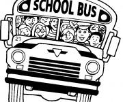 Coloriage et dessins gratuit Autobus scolaire plein de joie à imprimer