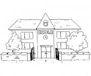 Coloriage et dessins gratuit bâtiment d'École à imprimer