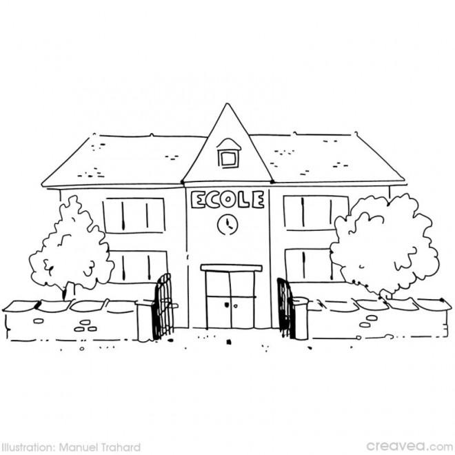 Coloriage et dessins gratuits bâtiment d'École à imprimer