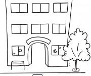 Coloriage et dessins gratuit Bâtiment d'École Maternelle à imprimer