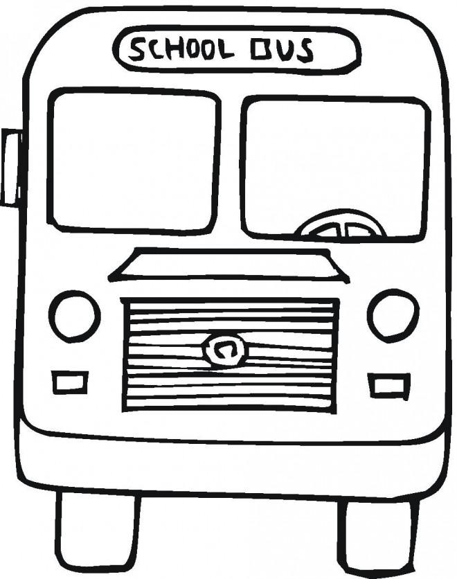 Coloriage et dessins gratuits Bus scolaire vue de face à imprimer