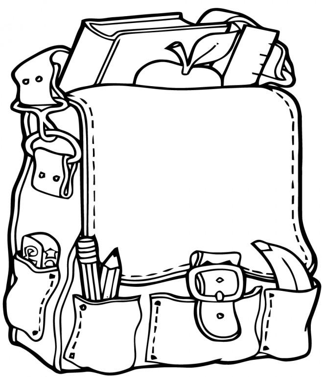 Coloriage et dessins gratuits Cartable École à découper à imprimer