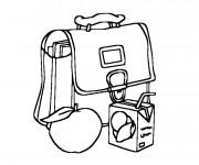 Coloriage et dessins gratuit Cartable et Goûter pour École à imprimer