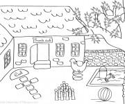 Coloriage et dessins gratuit Cour d'Ecole en couleur à imprimer