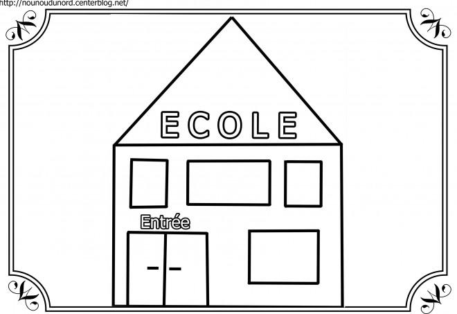 Coloriage cole facile dessin gratuit imprimer - Dessin de classe d ecole ...