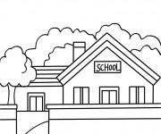 Coloriage École stylisé