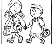 Coloriage et dessins gratuit Enfants en route pour École à imprimer