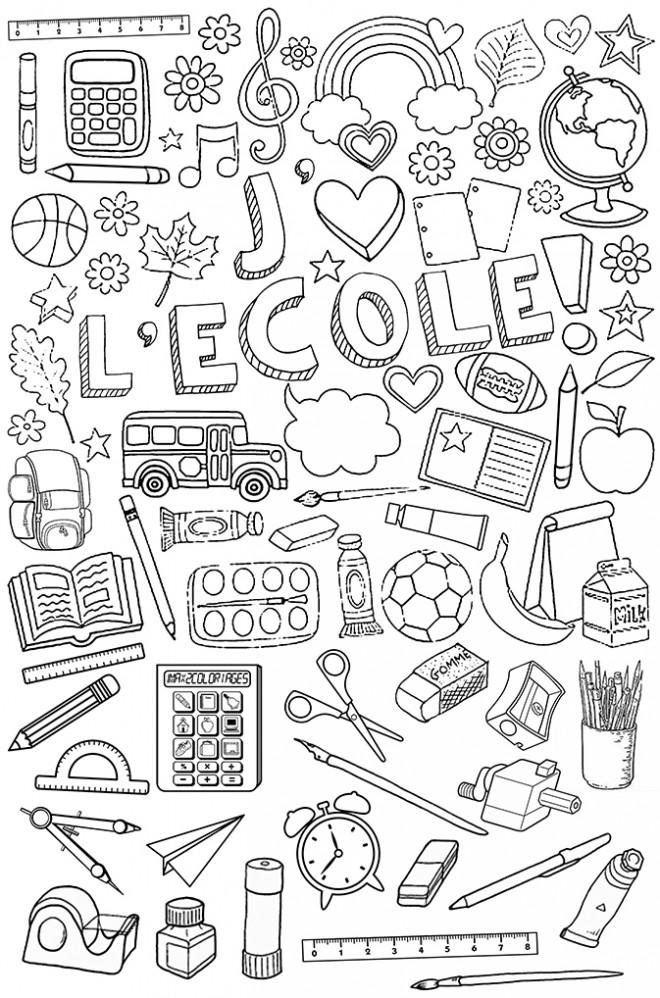 Coloriage et dessins gratuits J'aime l'École à imprimer