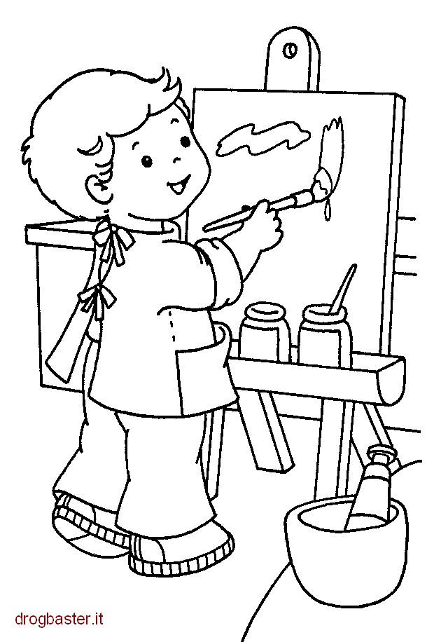 Coloriage et dessins gratuits L'élève pendant la séance de dessin à imprimer