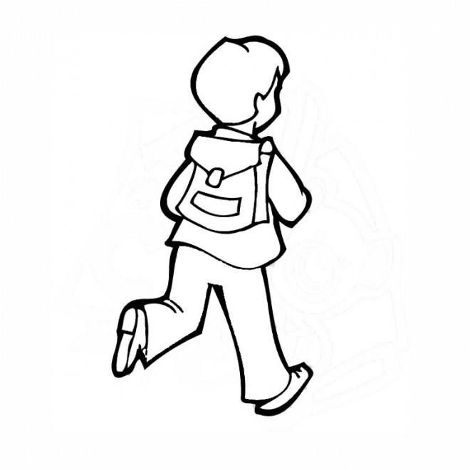 Coloriage et dessins gratuits L'enfant se dirige vers L'École à imprimer