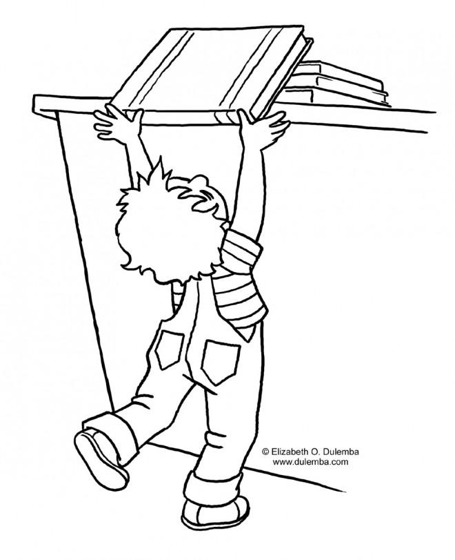 Coloriage et dessins gratuits L'enfant veut prendre un Livre à imprimer