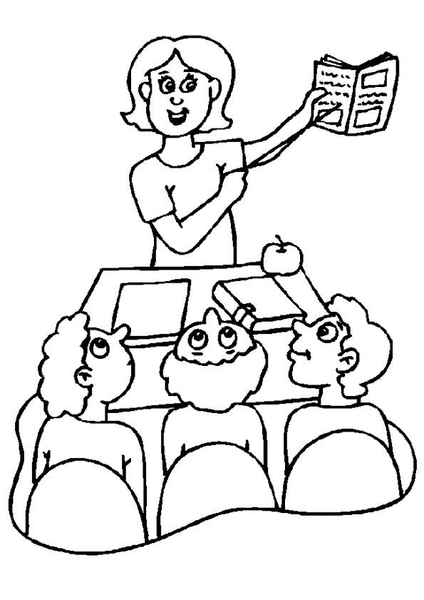 Coloriage et dessins gratuits L'enseignante explique la leçon à imprimer