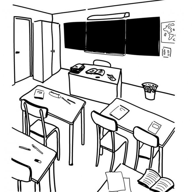 Coloriage et dessins gratuits La Classe en noir et blanc à imprimer